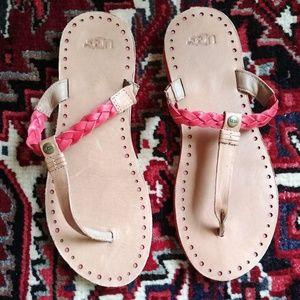 UGG Pink & Tan Leather Flip Flops